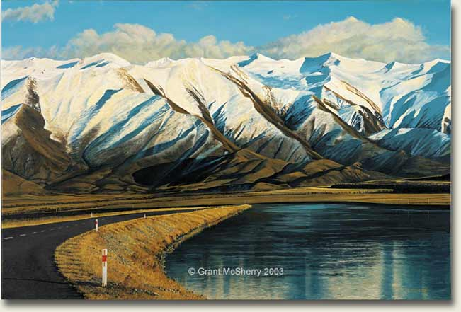 Ben Ohau Range and Pukaki Canal painting by Grant McSherry