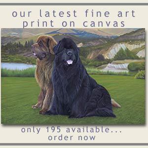 Oil painting Newfoundland dogs
