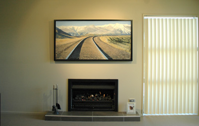 Left: The original, 'Strolling the TranzAlpine' by Grant McSherry is a large size oil painting, finished in a hand crafted, black lacquer shadow frame with negative space.