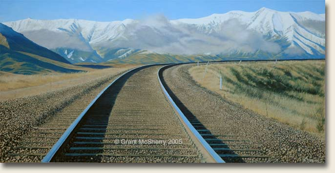 TranzAlpine rail painting by Grant McSherry