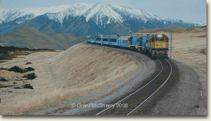 TranzAlpine train painting by Grant McSherry